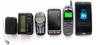 Representation of advances in communication tech from pager to smart phone.
