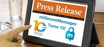 A person reads the miSecureMessages press release on their tablet.